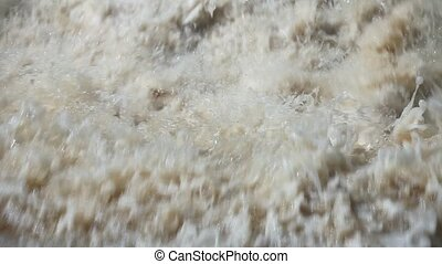 Raging stream of falling water with sound - waterfall from...