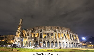 Colosseum at night. Zoom. Rome, Italy. Time Lapse