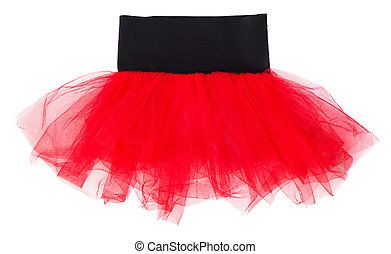 Red children's tulle skirt isolated on white background