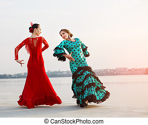 Flamenco dancers Spain womans in a long dress - Flamenco...