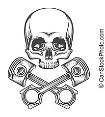 Human Skull with Engine Pistons - Human skull and crossed...