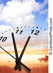 Time passing - Clock face on sky background