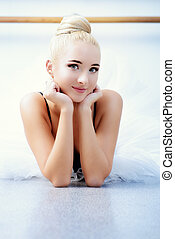 smiling ballerina - Ballet concept. Portrait of a beautiful...
