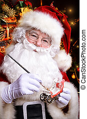 brash magic - Workshop of Santa Claus. Close-up portrait of...