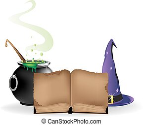 Magical equipment - Witch hat, boiling cauldron and old book...