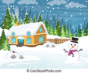 Snow-covered country house - Snow-covered house and snowman...