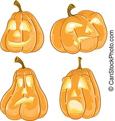 Halloween pumpkins Jack O Lanterns set isolated on white