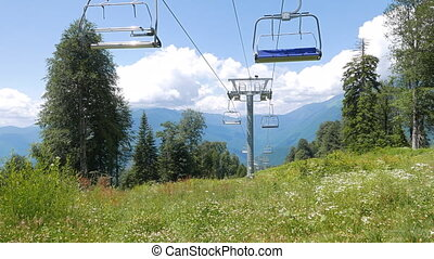 Do not move the Chair lift above ski slope. Sochi, Russia....