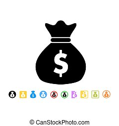 Money bag icon in flat style