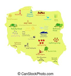 Poland - Map of Poland - vector illustration