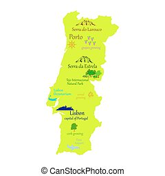 Portugal - Map of Portugal - vector illustration