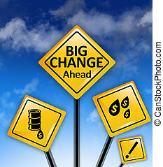 Big changes ahead yellow road signs