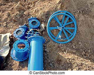 250mm and 150mm drink water pipe collars, gate wheel,...