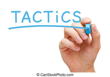Tactics Blue Marker - Hand writing Tactics with blue marker...