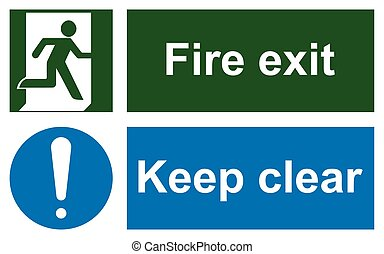 Green emergency exit sign on white and Keep clear sign....