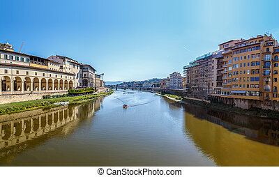 Arno River in Florence, the view from Vecchio Bridge