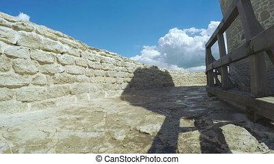 Fortress wall in castle - RUSSIA, PSKOV, JULY, 2016:...