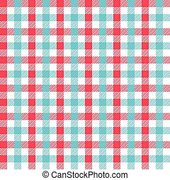 Seamless Red and Turquoise Gingham Pattern Background