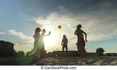 Friends on sandy beautiful beach playing volleyball