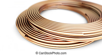 Copper metal pipes goods on white background. 3d Illustrations