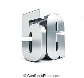 5G metal sign, 5G cellular high speed data wireless connection. 3d Illustrations on white background