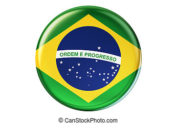 Badge with flag of Brazil, 3D rendering isolated on white...