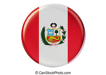 Badge with flag of Peru, 3D rendering isolated on white...