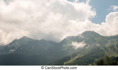 The tops of the clouds. TimeLapse. Rosa Khutor, Sochi,...