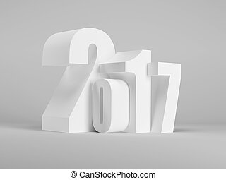 new year 2017, 3d rendering