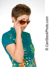 Flirting - Female peeking above sunglasses