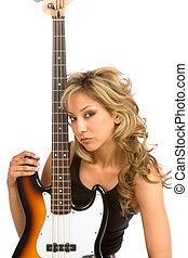 Portrait with bass - Portrait of Girl with electric bass...
