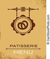 Ancient street signboard of  bakery , vector illustration