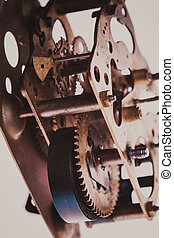 Vintage clock mechanism - The internal design of the...