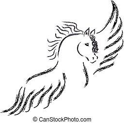 Pegasus silhouette on white background