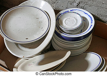 many ceramic plates and bowls broken and dirty for sale in...