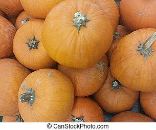 many orange pumpkins for sale at the vegetable market -...