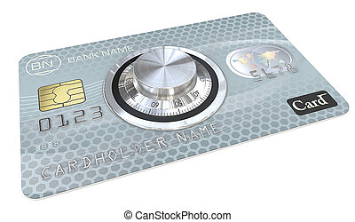 Safe Payments. - 3D render of Blue Credit Card with a Safe...