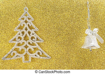 Silver christmas tree on golden background