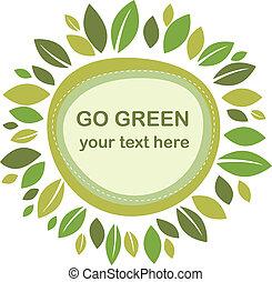 Green leaves frame - Green leaves retro frame