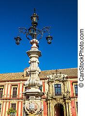 Fountain on the Plaza de la Virgen in Seville, Spain -...