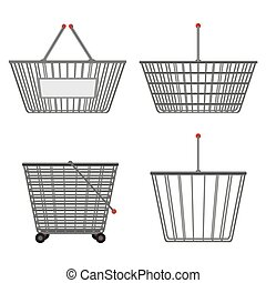 Four realistic metallic chrome wire empty baskets of different shapes. Vector illustration