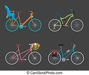 Vintage design four bicycle set. Retro old style bicycles transport wheel. Antique cycle transportation. Vector