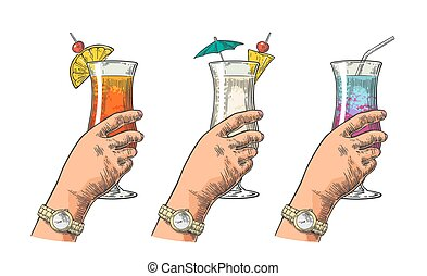 Female hand holding a glass of cocktail. Vintage vector...