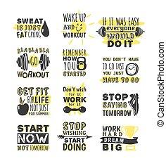 frases, motivação, desporto, vetorial