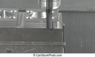 CNC milling machine working close up - Close up of chuck and...