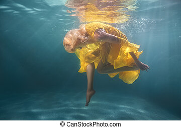 Woman underwater shows figures. - Woman underwater shows...