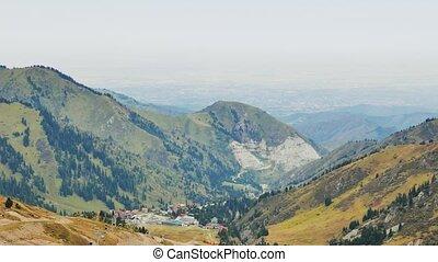 Panorama of the pass Shymbulak, Almaty, Kazakhstan. UltraHD...