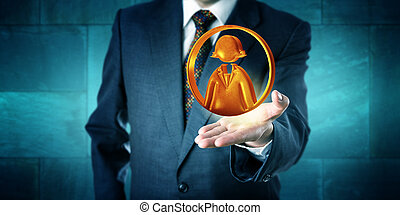Business Man Offering A Female Office Worker Icon - Business...