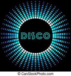 Retro disco background with soundwave frame - Retro disco...