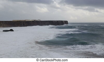 Mighty storm in Sagres, on the beach Tunnel. Portugal